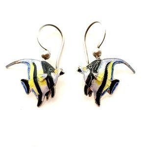 Vintage Enamel Angel Fish Earrings